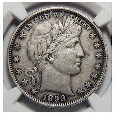 1898 Ngc XF45 Barber Half Dollar