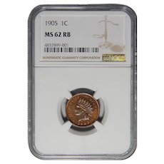 1905 Ngc MS62RB Indian Cent