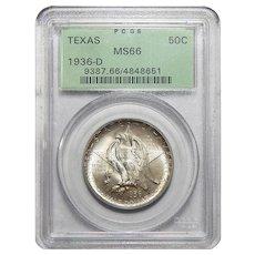 1936-D Pcgs MS66 Texas Half Dollar