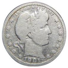 1901-S Anacs VG8 Barber Quarter