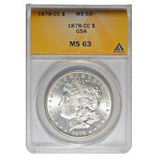 1878-CC Anacs MS63 Morgan Dollar