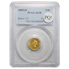 1855-O Pcgs AU58 PQ! One Dollar Gold