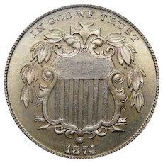 1874 Pcgs PR67 Shield Nickel