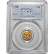 1922 Pcgs MS65 Grant, No Star $1 Gold
