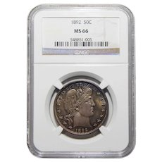 1892 Ngc MS66 Barber Half Dollar