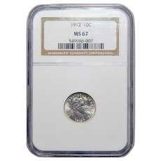 1912 Ngc MS67 Barber Dime