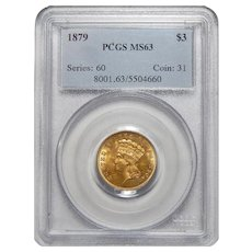 1879 Pcgs MS63 $3 Gold