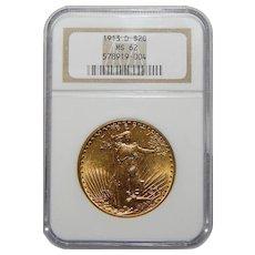 1913-D Ngc MS62 $20 Saint Gaudens