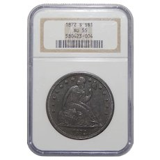 1872-S Ngc AU55 Liberty Seated Dollar