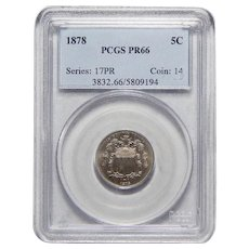 1878 Pcgs PR66 Shield Nickel