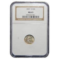 1857 Ngc MS65 Seated Liberty Half Dime