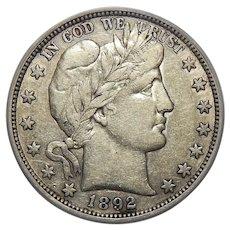 1892-O Icg EF40 Barber Half Dollar