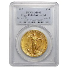1907 Pcgs MS63 $20 High Relief-Wire Edge Liberty Head Gold