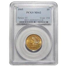 1905 Pcgs MS62 $5 Liberty Head Gold