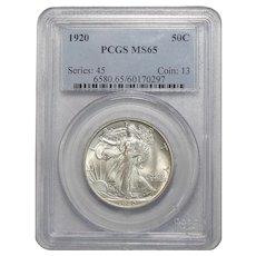 1920 Pcgs MS65 Walking Liberty Half Dollar