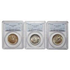Complete Set 1935 P+D+S Pcgs MS65 Texas Half Dollar