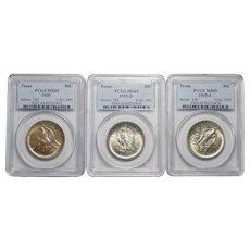 Complete Set of 1935 P+D+S Pcgs MS65 Texas Half Dollars