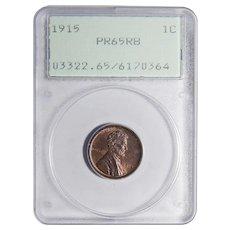 1915 Pcgs PR65RB Lincoln Wheat Cent