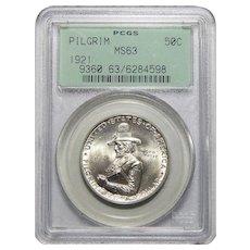 1921 Pcgs MS63 Pilgrim Half Dollar