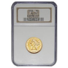 1888 Ngc AU58 $5 Liberty Head Gold