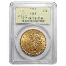 1873 Pcgs MS60 Open 3 $20 Liberty Head Gold