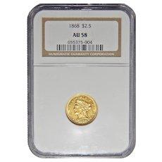 1868 Ngc AU58 $2.50 Liberty Head Gold