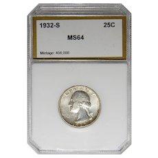 1932-S Pci MS64 25C Washington Quarter