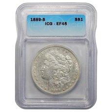 1889-S Icg EF45 Morgan Dollar