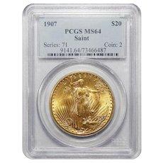 1907 Pcgs MS64 $20 St. Gaudens Gold