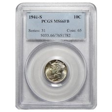 1941-S Pcgs MS66FB Mercury Dime