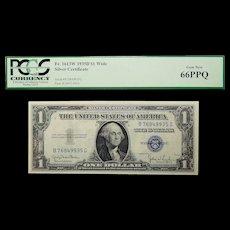1935D Pcgs 66PPQ $1 Silver Certificate Wide Fr. 1613W