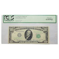 1950D Pcgs 63PPQ $10 Federal Reserve Note Star Note Fr. 2014-F✮