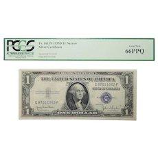 1935D Pcgs 66PPQ $1 Silver Certificate Narrow Fr. 1613N