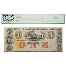 18__ PMG 63 $1 South Carolina, Charleston Obsolete Banknote