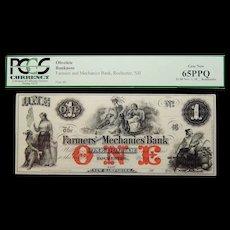 18__ Pcgs 65 PPQ $1 New Hampshire, Rochester Obsolete Banknote