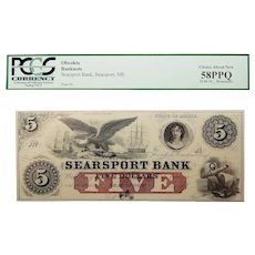 18__  Pcgs 58PPQ $5 Maine, Searsport Obsolete Banknote