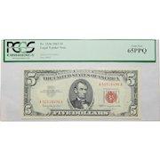 1963 Pcgs 65PPQ $5 Legal Tender Note Fr. 1536