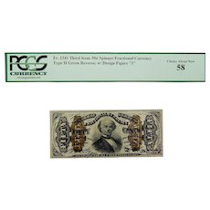 """PCGS 58 Third Issue 50¢ Type II Green Reverse; w/ Design Figure """"1"""" Spinner Fractional Currency Fr. 1341"""