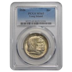 1936 Pcgs MS65 Long Island Half Dollar