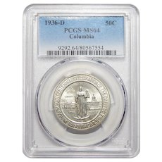 1936-D Pcgs MS64 Columbia Half Dollar
