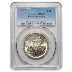 1925 Pcgs MS65 Stone Mountain Half Dollar