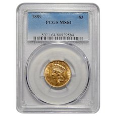 1889 Pcgs MS64 $3 Gold