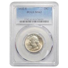 1932-S Pcgs MS63 Washington Quarter