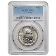 1927 Pcgs MS64 Vermont Half Dollar
