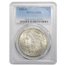 1921-S Pcgs MS65 Morgan Dollar
