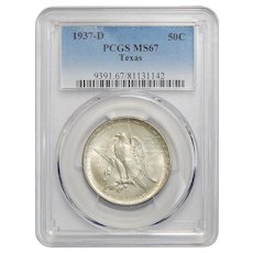 1937-D Pcgs MS67 Texas Half Dollar