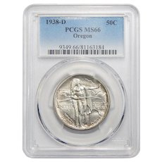 1938-D Pcgs MS66 Oregon Half Dollar