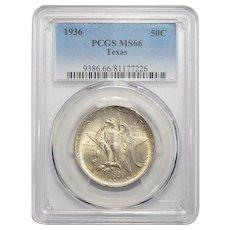 1936 Pcgs MS66 Texas Half Dollar