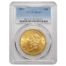 1861 Pcgs MS61 $20 Liberty Head Gold