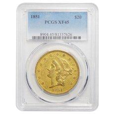 1851 Pcgs XF45 $20 Liberty Head Gold